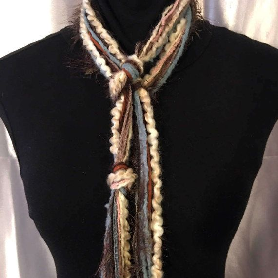 Sonoma - Skinny Scarf, Boho Scarf, Green Blue Brown, Unique Gifts for Women, Rustic, Tribal Jewelry, Unique Handmade Scarves