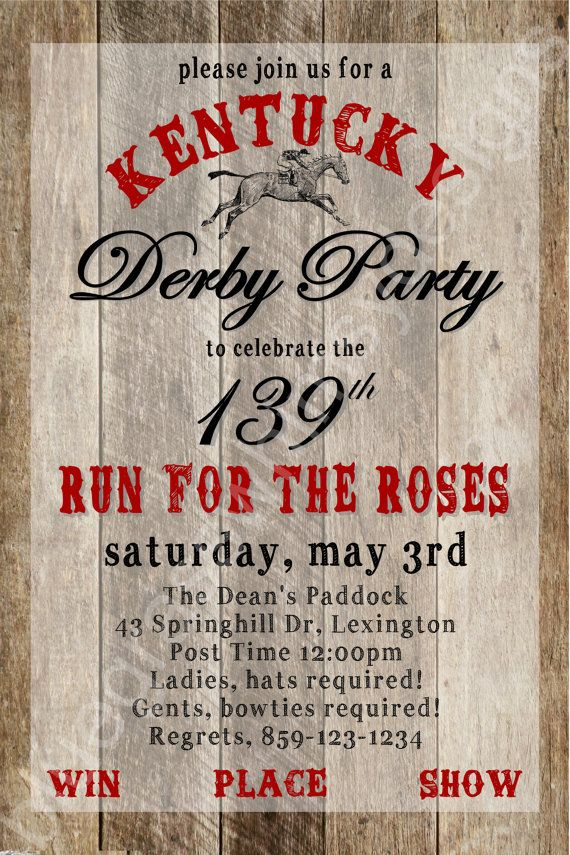 Kentucky Derby Party -Win, Place, Show- 139th Run for the Roses, DIY Printable Invitation