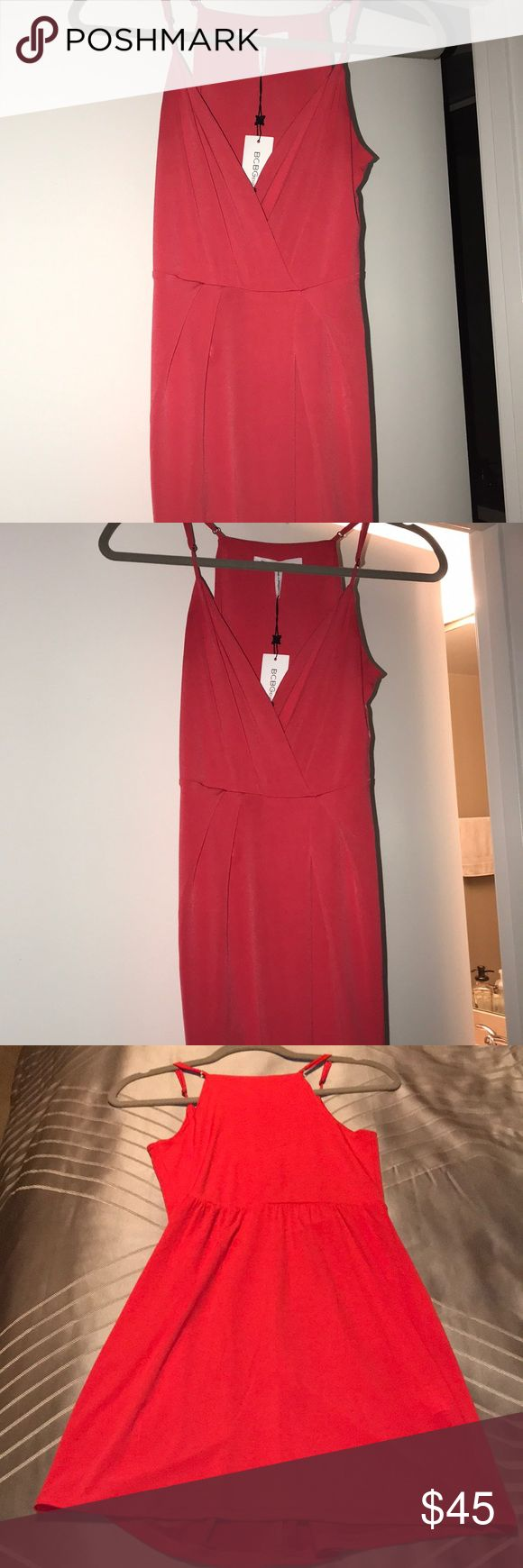 🆕 BCBG Generation mini Coral Dress ✨Brand New ✨with tags, bright coral! Super cute and flowy with adjustable straps and button on bust that can come unbuttoned if wanted. Mid thigh length, very comfy. Make an offer! BCBGeneration Dresses