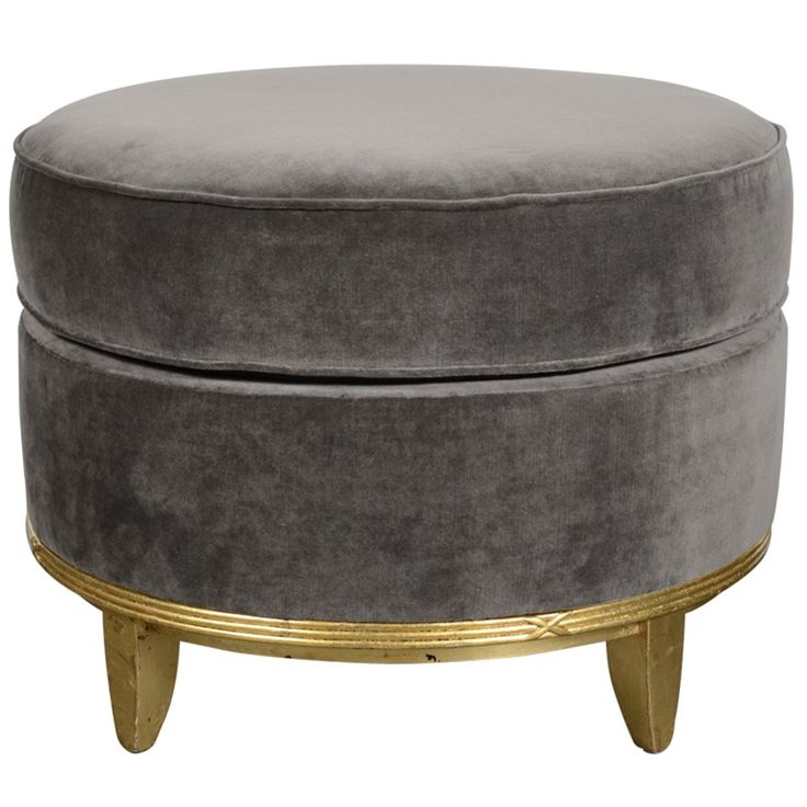 Art deco normandy ottoman in grey mohair gilt detailing for Furniture 0 interest