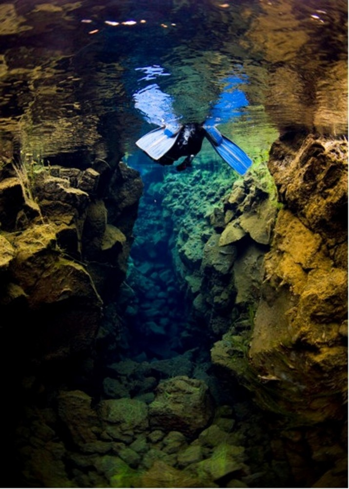 Snorkling in Silfra, between the two tectonic plates - Thingvellir  #icelandtravel #iceland #travel #snorkling