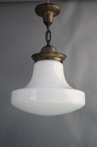 7959. 1 of 2 Milk Glass Pendants, c. 1920's, Antique Chandeliers, Antique and Spanish Revival Lighting: Sconces,Chandeliers etc. at Revival Antiques