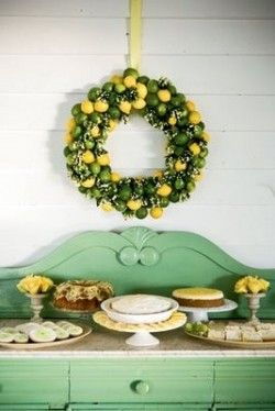 omg DIE lemon and lime wreath over lemonaide table and I DIE for that celadon green dresser