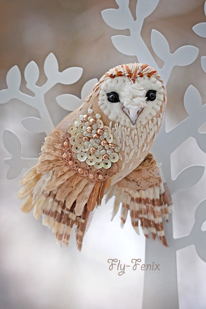 embroidered barn owl brooch
