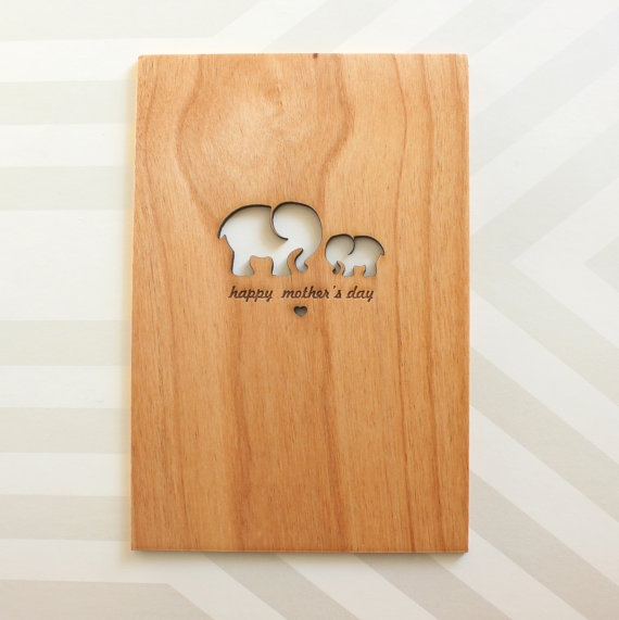 Mothers Day Card with Mom and Baby Elephants by cardtorial  That's one sturdy card.