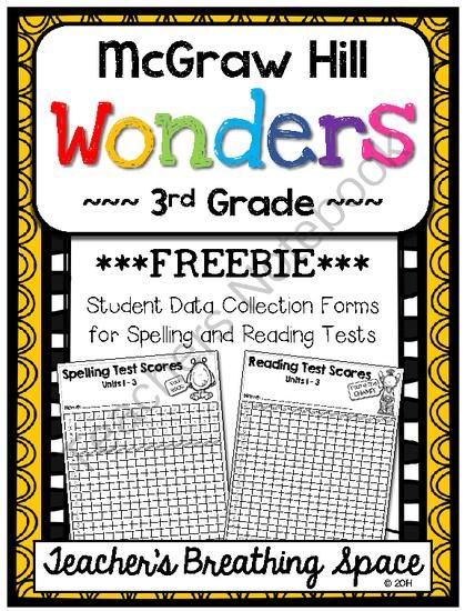 Wonders 3rd Grade --- Student Data Forms for Spelling / Reading Tests *FREEBIE…