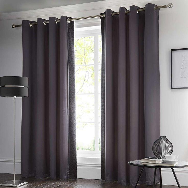 Owen Black Thermal Eyelet Curtains | Dunelm