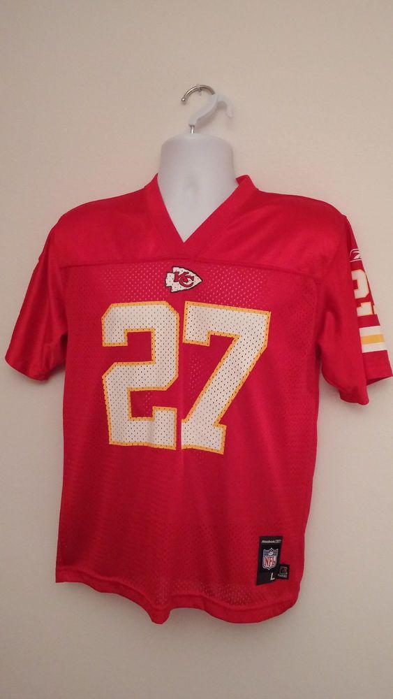 Kansas City Chiefs Reebok Youth Football Jersey Large 14/16 #27 Larry Johnson #Reebok #KansasCityChiefs