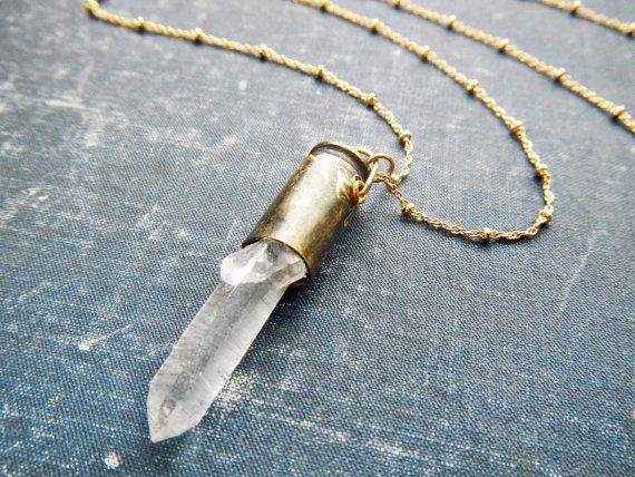 collier de balle de cristal de quartz - pendentif en cristal brut - bijoux en cristal de guérison