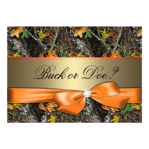 Gender Reveal - Orange Camo Baby Shower Invitation, love it! Have to be for grand kids now....