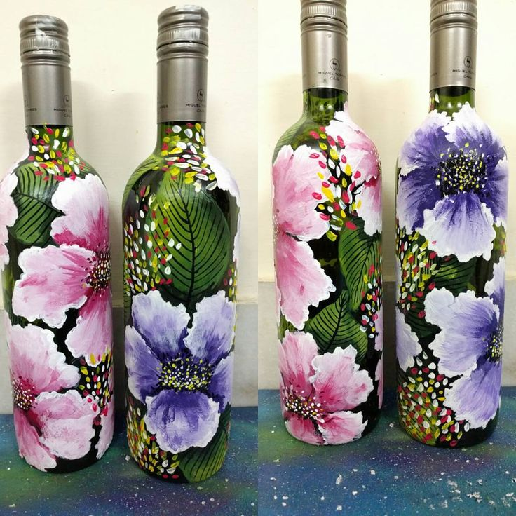 1000 images about flower bottles and glasses on pinterest for Painting flowers on wine bottles
