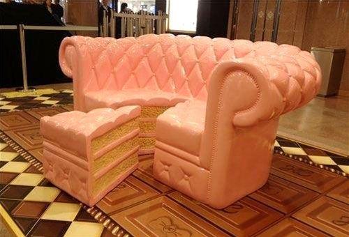 Pink Sofa And Ottoman Shaped Like A Slice Of Cake