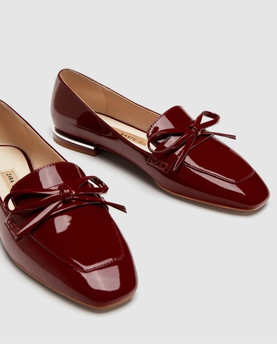 ZARA - WOMAN - FAUX PATENT LEATHER LOAFERS WITH BOW DETAIL