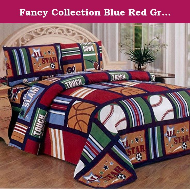 Fancy Collection Blue Red Green Sport Kids/teens 3 Pc Sheet Set Pillow Shams Bedding Twin Size. twin sport Print sheet set contains 1 flat sheet, 1 fitted sheet and 1 standard pillow cases. They are made of microfiber that will stay soft and wrinkle free, with no color fading. These sheets are easy care, machine washable, tumble dry low. They are smooth to the touch, durable and great for any time of year.