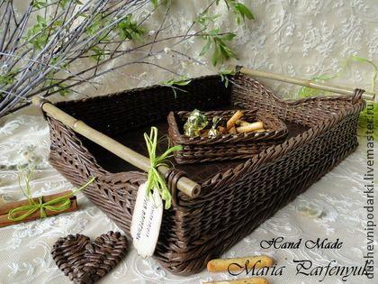"""Набор плетёный """"SUNRISE"""" - поднос для завтрака,плетение из бумаги,коричневый"""