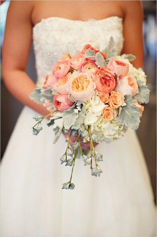 "Bride's Bouquet: White Hydrangea, Peach ""Juliet"" David Austin English Garden Roses, Peach Spray Roses, Peach Ranunculus + Dusty Miller"