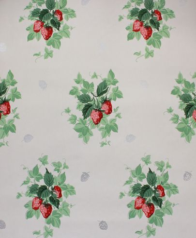 1940's Vintage Wallpaper Strawberries - Rosie's Vintage Wallpaper