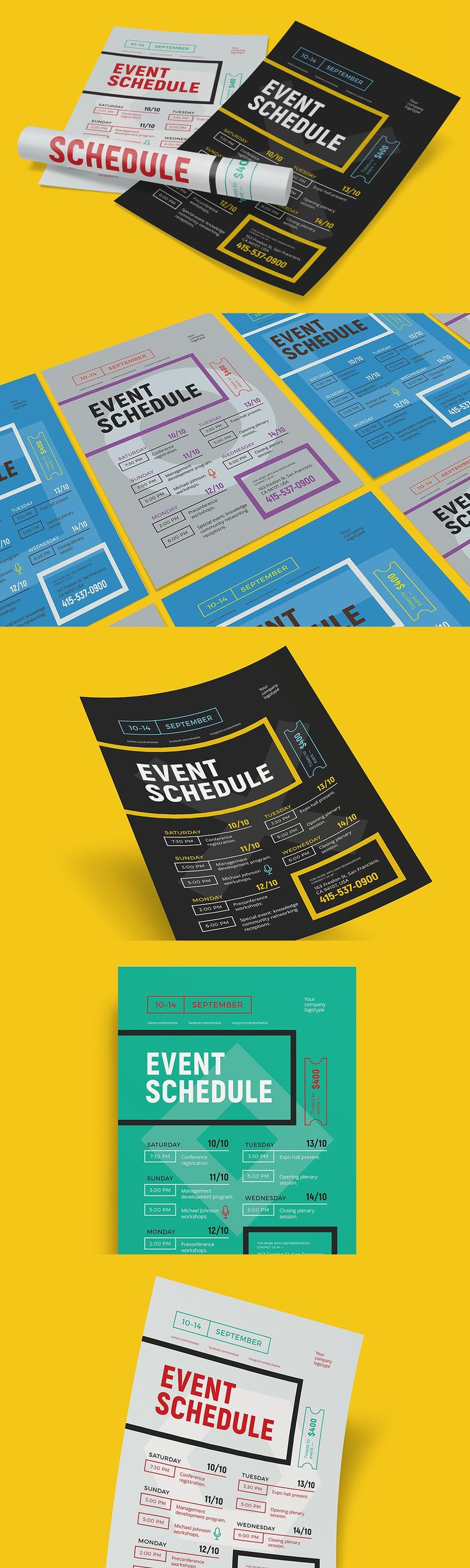 Schedule event poster template EPS,  AI