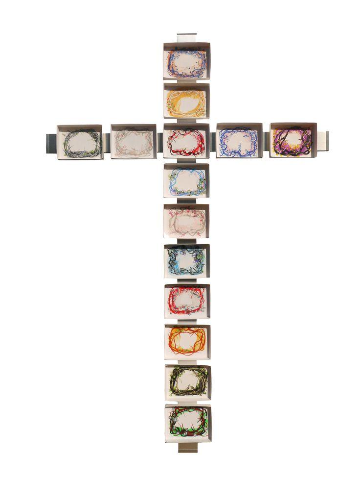 Croce della passione in fiore  cm.3,15x215 tec. cera a caldo