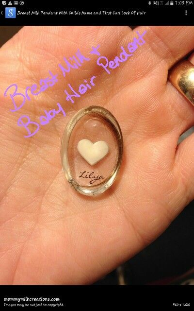 Breast milk and baby hair pendant