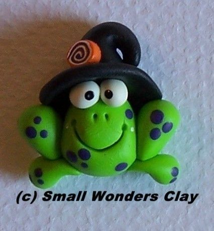 Witch Frog, polymer clay bead, charm or hairbow center on Etsy, $3.25