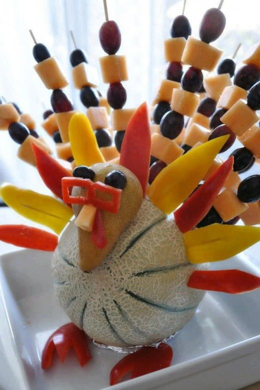 Healthy and Fun way to decorate for Thanksgiving! #healthy #thanksgiving #turkey #food