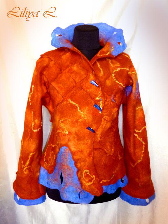 """Купить Жакет """"Яркая осень"""" - рыжий, осень, жакет, куртка, жакет валяный, жакет из шерсти"""
