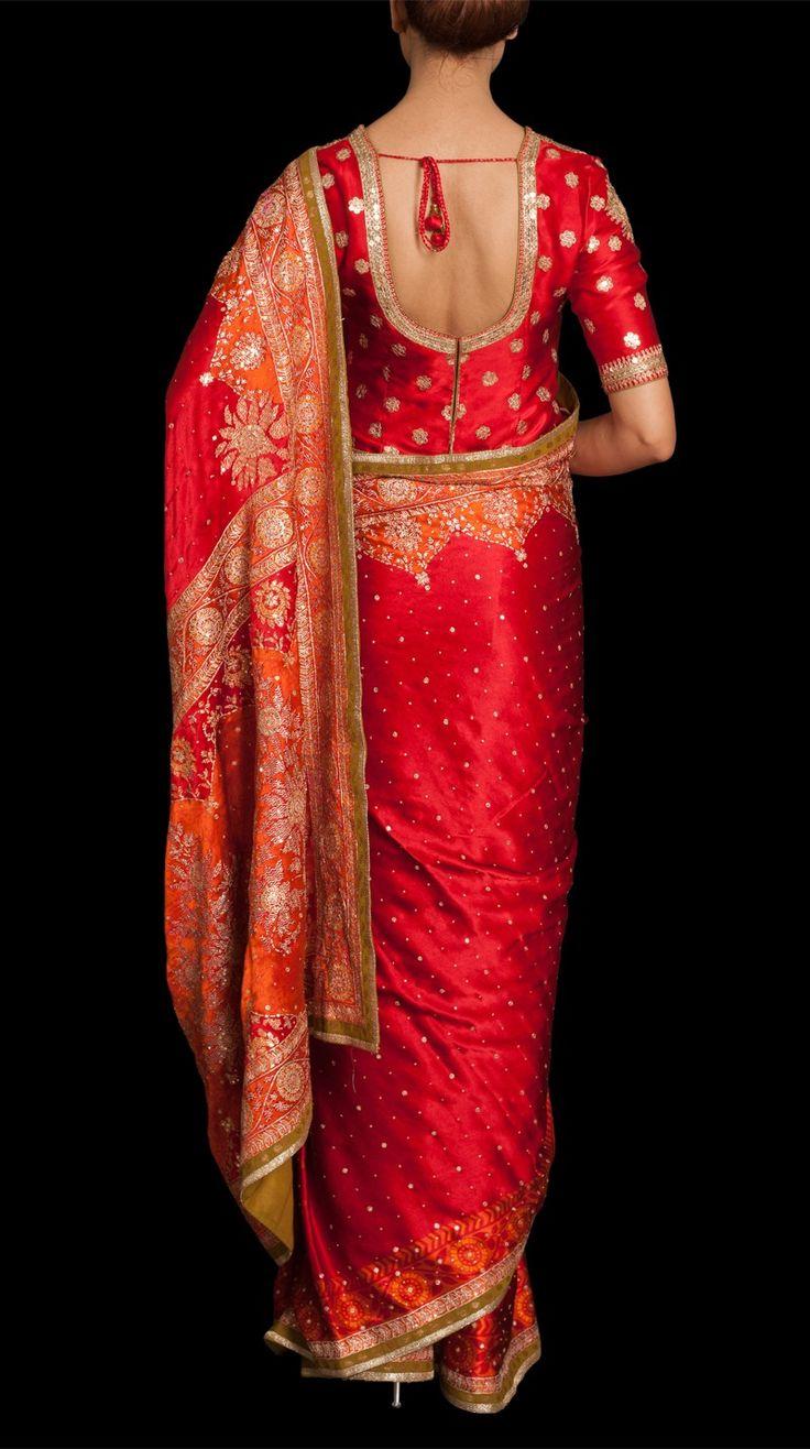 Sikander Red Embroidered Sari - Saris