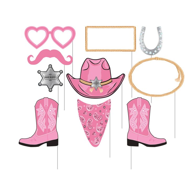 Descriptions Pink Bandana Cowgirl Photo Booth Props - Design : Pink Bandana Cowgirl Features - Girls Birthday Ships within 4 Business Days
