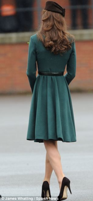From the back, Kate Middleton on St. Patrick's Day, 2012.