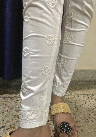India Chikan White Cotton Designer Ethnic Legging Churidar with rich Hand Lucknow Chikankari Embroidery