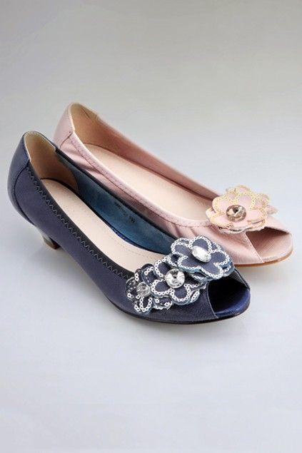 Jeweled Flower Detail Peep Toe Flats