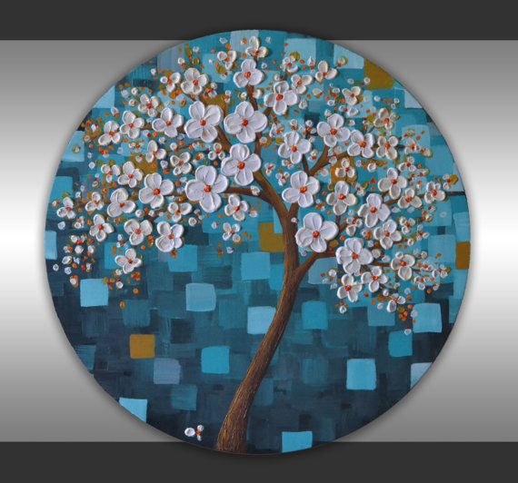 """Textured Art, Cherry Blossom Tree, Abstract Landscape, 20"""" Ready to Hang Round Canvas Original Fine Art, Acrylic Painting  by ZarasShop"""