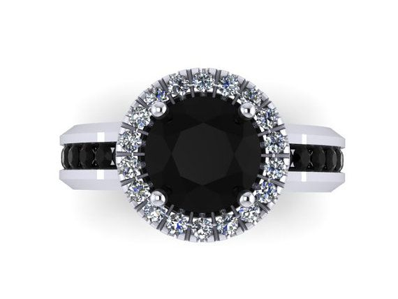 Black diamond engagement ring 14k white gold ring with 7mm round blac
