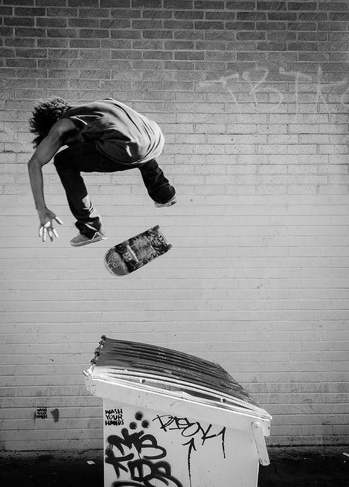 Skate over a bin