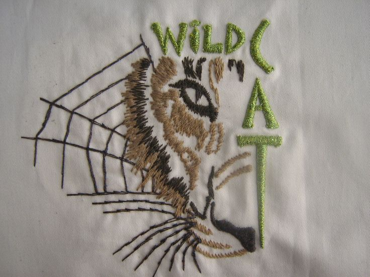 3D puff embroidery, using wool thread and metallic threads for special effects. Wild Cat design #embroidery #3Dembroidery get your embroidery done today www.kapinua.co.nz