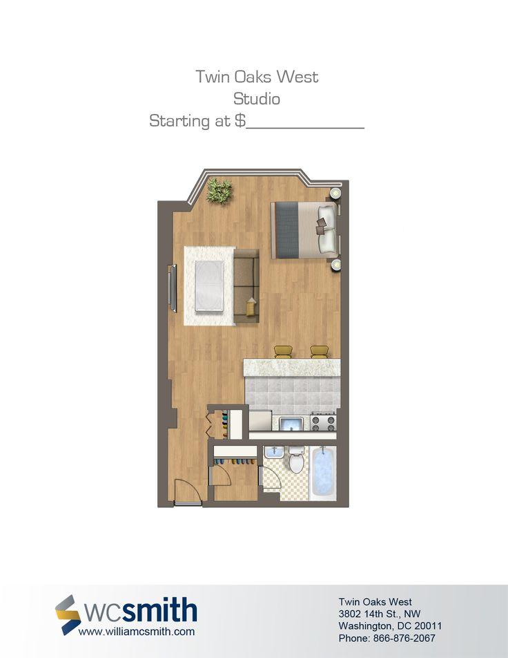 Studio/Efficiency Floor Plan | Twin Oaks In Northwest Washington DC | WC  Smith #