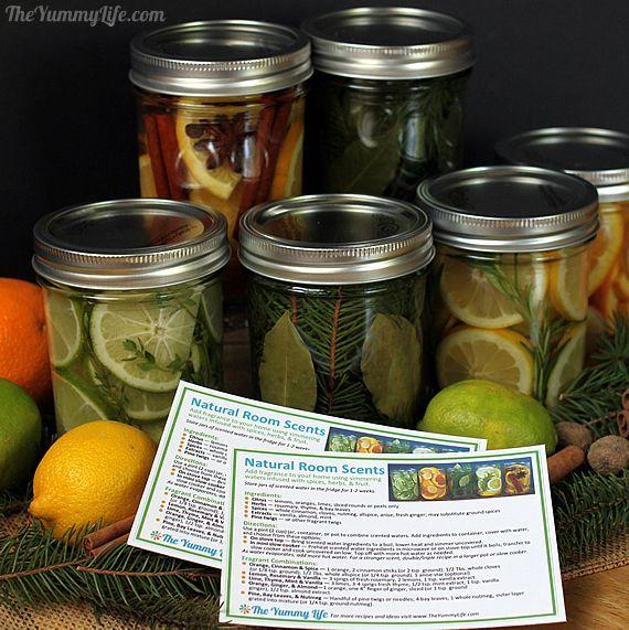 Quarto Natural Scent Jars para presentes e peças centrais de bricolage.  www.theyummylife.com/Scent_Jar_Gifts_and_Centerpieces