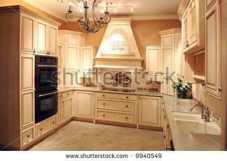 Cream Color Kitchen Cabinets And Slate Floor