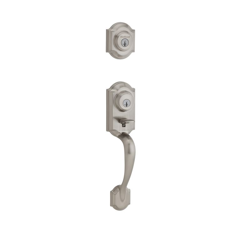 Kwikset Signature Montara SmartKey Satin Nickel Single-Lock Keyed Entry Door Handleset