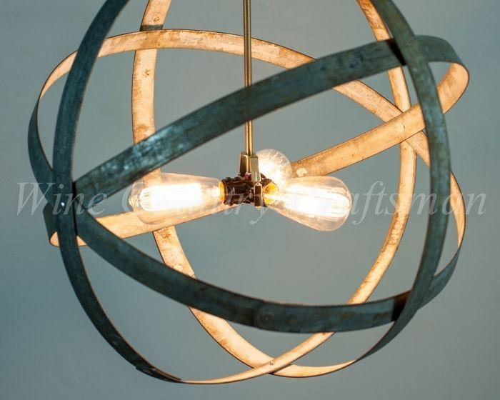 Custom Made Atom - Premier - Wine Barrel Ring Pendant Chandelier