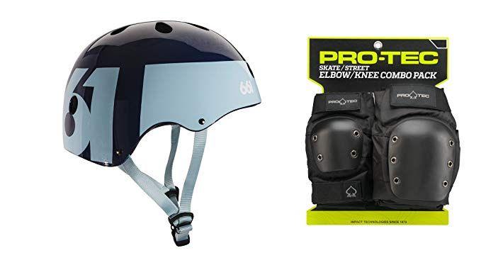 661 Dirt Lid Skateboard BMX Helmet CPSC Certified with Knee Elbow Wrist Pads