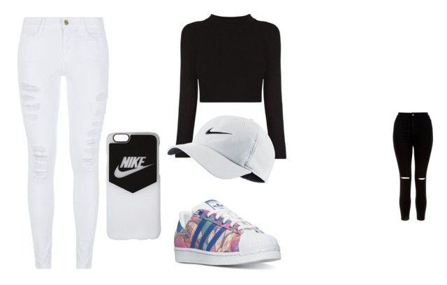 """nike"" by poppymclenahan on Polyvore featuring adidas, New Look, Frame Denim, NIKE, jeans, cap, nike and riped"