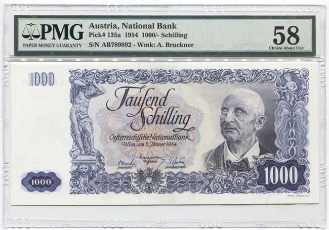 1000 SCHILLING 1954 (BRUCKNER) Österreich Geld