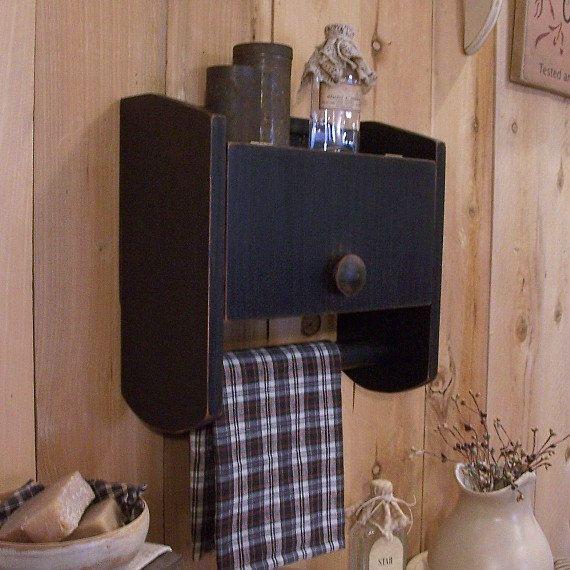 Primitive Bathroom Cabinet Towel Rack Toilet Paper By Sawdusty
