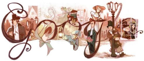 The Google Doodle commemorating the birth of Charles Dickens, one of the most important writer in the Victorian era born on February 7th 1812. His books are Oliver Twist, Great Expectation, and my favorite Christmas tale: A Christmas Carol.