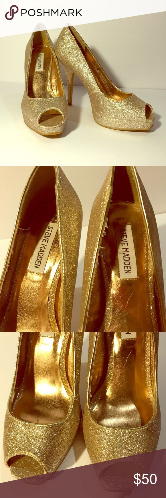 Steve Madden Gold Glitter Sequin High Heel Shoes Steve Madden Golden Stileto Platform High Heel Shoes Size 8. 5 inch heels. Great condition with very little signs of wear. See photos for closeup details. All items come from smoke free and pet free home. Steve Madden Shoes Heels