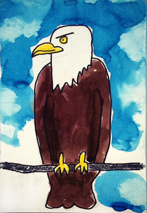 Painting watercolor clouds, behind a Bald Eagle. PDF tutorial available.