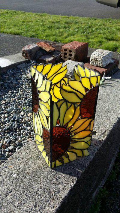 Sunflower stained glass lantern by LoneDireWolfess
