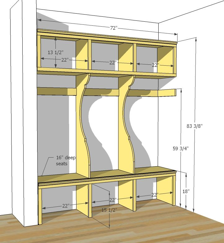 Ana white build a smiling mudroom free and easy diy for Mudroom addition plans